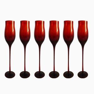 Copas de vino de Zbigniew Horbowy para Sudety Glassworks, años 70. Juego de 6