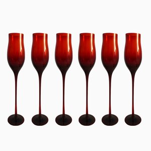 Wine Glasses by Zbigniew Horbowy for Sudety Glassworks, 1970s, Set of 6