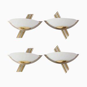 Brass Glass & Chrome Sconces from B+M Leuchten, 1980s, Set of 4