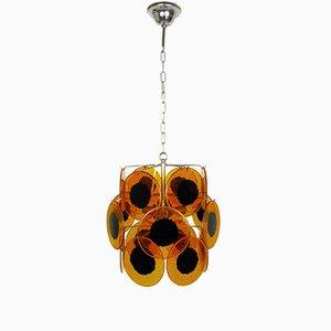 Lampada a sospensione vintage color ambra, anni '70