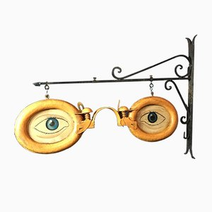 Vintage Optometrist Trade Sign with Wall Bracket