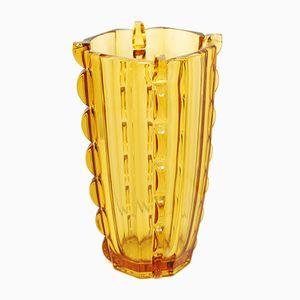 Vase Art Deco en Verre Couleur Miel de Stolzle Hermanova Hut, 1930s