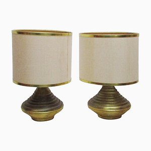 Table Lamps with Antique Brass Bases, 1970s, Set of 2