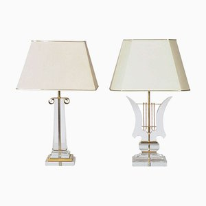 Plexiglass Table Lamps, 1970s, Set of 2
