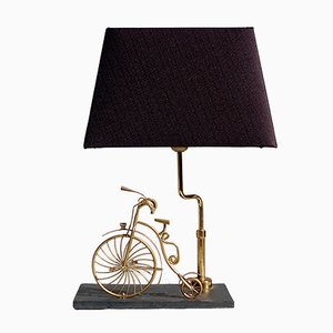 Lámpara de mesa de cobre y latón en forma de bicicleta, años 70