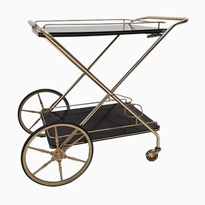Brass & Mahogany Folding Bar Cart, 1950s