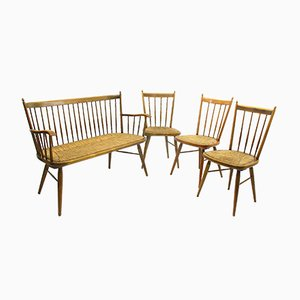 Bank mit 3 Stühlen von Arno Lambrecht, 1960er