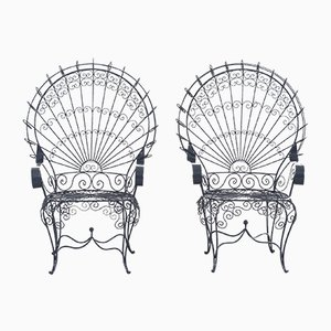 Große Vintage Peacock Stühle von John Salterini, 1930er, 2er Set
