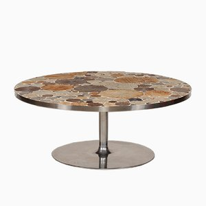 Round Mid-Century Danish Coffee Table with Tiles by Tue Poulsen, 1960s
