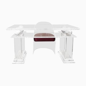 Lucite and Marble Writing Desk and Chair, 1970s