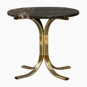 Italian Brass and Marble Side Table, 1980s