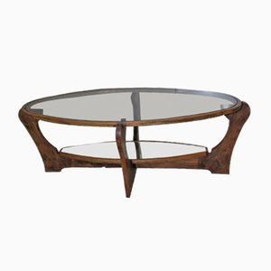 Table Basse en Orme & Verre, 1980s