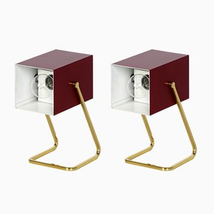 Vintage Nachttischlampen mit Messingsockeln von Kaiser Idell, 2er Set