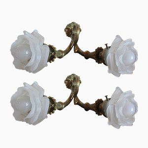 Antique Bronze & Glass Wall Sconces, Set of 2
