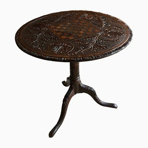 Table d'Échecs Antique en Chêne Sculpté, Angleterre