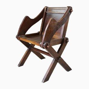 Antiker Glastonbury Stuhl aus Eiche