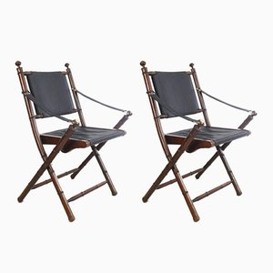 Hand-Stitched Leather and Faux-Bamboo Folding Chairs, 1950s, Set of 2