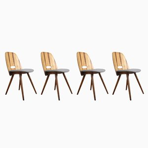 Walnut Dining Chairs by František Jirák for Tatra, 1960s, Set of 4