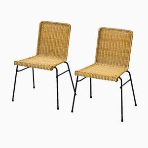 Skandinavische Stühle aus Rattan & Metall, 1950er, 2er Set
