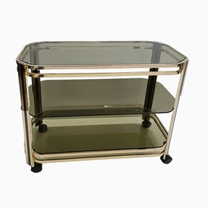 Brass 3 Tier-Serving Trolley with Mirror, 1970s