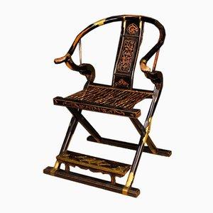 Chinesischer Armlehnstuhl aus lackiertem Holz, 1950er