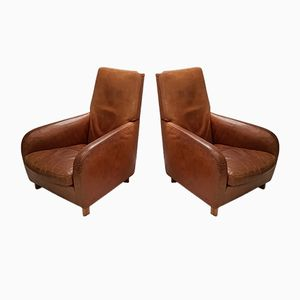 Cognac-Leather Lounge Chairs from Molinari, 1990s, Set of 2