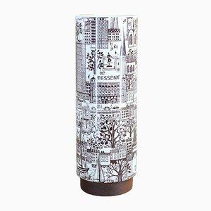 Vase Essen avec Base en Teck de Gerold Porzellan Bavaria, 1960s