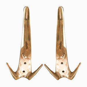 Brass Wall Hooks by Carl Auböck, 1950s , Set of 2