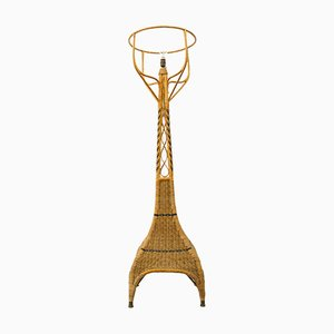 Vintage Braided Wicker and Bamboo Floor Lamp
