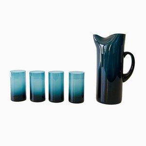 Juego de jarra con cuatro vasos suecos de vidrio de Gunnar Ander para Lindshammar, años 50