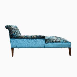Chaise Longue Antique en Velours Bleu