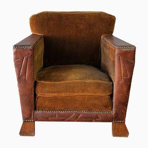Art Deco Leather and Velvet Clubchair, 1920s