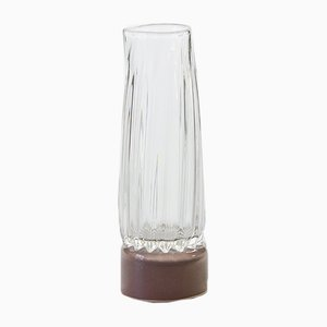 Carafe with Mocha Base, Moire Collection, Hand-Blown Glass by Atelier George