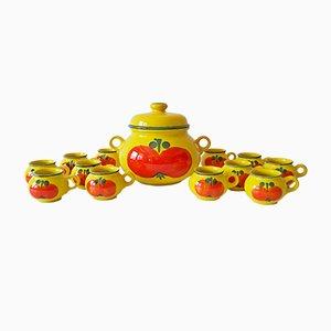 Servicio de té de cerámica de 13 piezas de Waechtersbach, años 60. Tetera y 12 tazas