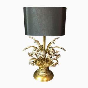 Mid-Century Brass Wheat Sheaf and Flowers Lamp