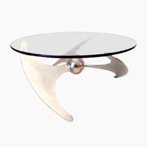 Mesa de centro regulable vintage de acero inoxidable y vidrio de L. Campanini para Cama