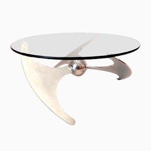 Tavolino da caffè vintage regolabile in inox e vetro di L. Campanini per Cama