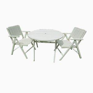 Tavolo e sedie da giardino pieghevoli di Gleyzes, anni '50