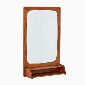 Specchio vintage con cornice in teak e mensola, anni '60