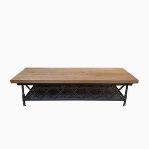 Industrieller Vintage Tisch mit zwei Ablagen aus Metall & Ulmenholz