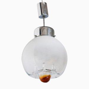 Lampada da soffitto in metallo cromato e cristallo, anni '70