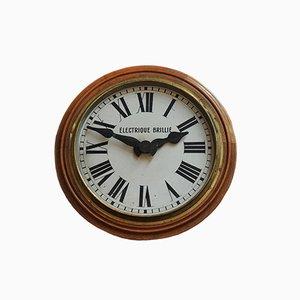 Französische Uhr aus Holz & Kupfer, 1930er
