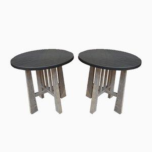 Tables Rondes en Orme et Hêtre, 1960s, Set de 2
