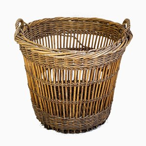 Large French Wicker Basket, 1930s