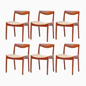 Esszimmerstühle aus Teak von Wilhelm Volkert für Poul Jeppesen Møbelfabrik, 1960er, 6er Set