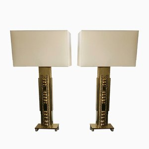 Italian Brutalist Brass Lamps by Luciano Frigerio, 1970s, Set of 2