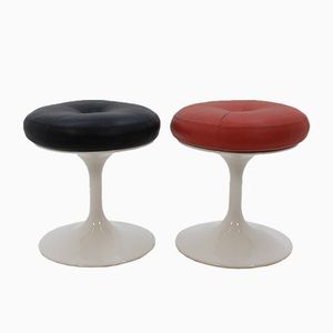 Scandinavian Leather Stools, 1970s, set of 2