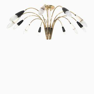 Lámpara de araña Sputnik grande con 12 brazos en blanco y negro, años 60
