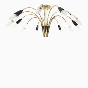 Large 12-Arm Sputnik Chandelier in Black & White, 1960s