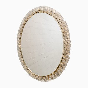 Oval Illuminated Viennese Mirror with Glass Flowers by Emil Stejnar for Rupert Nikoll, 1950s